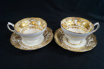 Pair of Hammersley 14433 Gold Floral Gilt Tea Cups & Saucers A Circa 1912 - 1939