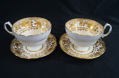 Pair of Hammersley 14433 Gold Floral Gilt Tea Cups & Saucers B Circa 1912 - 1939