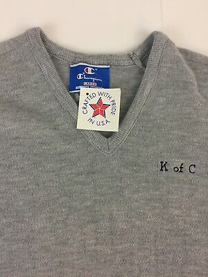 Vintage Knights of Columbus V-Neck Light Sweater LARGE Champion Retro KofC