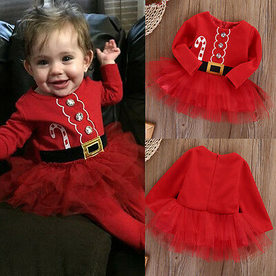 US Stock Baby Toddler Kids Girl Clothes Party Xmas Christmas Tutu Dress Outfits