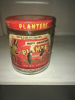 Vintage Planters Peanut Butter Jar with Lid Mr. Peanut Logo