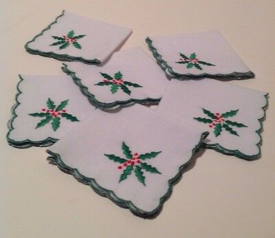 6 embroidered Holiday cocktail napkins