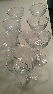 Lot Of 7 Vintage1950's  Fine Etched Cut Champagne/Wine Glasses. BEAUTIFUL !!