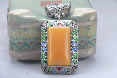 Ancient Chinese cloisonne pendants beautiful Miao silver edge aa927