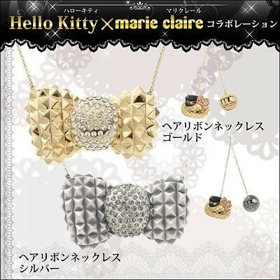 HELLO KITTY × Marie Claire Hair Ribbon Necklace Pendant Sanrio from Japan New!