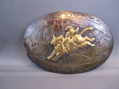 STERLING SILVER TROPHY BELT BUCKLE FROM TEXAS RODEO  BULLRIDING 46.8g Tex Tan