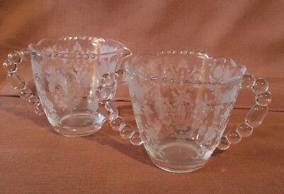 CHEROKEE ROSE By Tiffin Creamer And Sugar Bowl ELEGANT GLASS ETCHED UNUSED COND