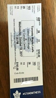 NHL Game Detroit Red Wings at Toronto Maple Leafs Wed. Oct 18th 1-4 Tix Sec.103