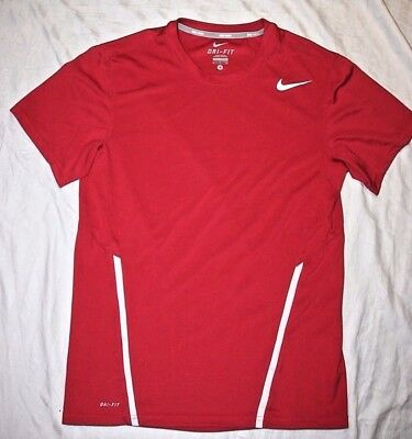 Men's Small Nike Dri-Fit polyester red/white lightweight athletic shirt - EUC!!