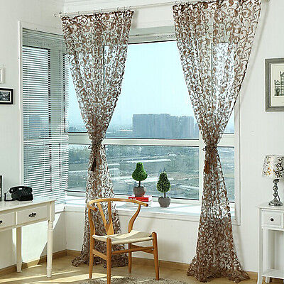 Floral Tulle Voile Room Door Window Curtain Drape Panel Sheer Scarf Valances New
