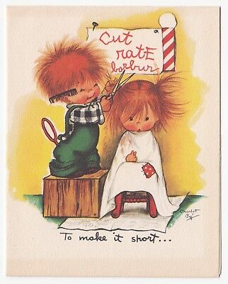Vintage Greeting CardBirthday Cute Red Haired Haircut Children Charlot Byi Byj