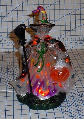 Halloween Light Up Witch Table Top Clear Plastic Figure 12 Inches Tall Works VG