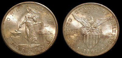 Philippines 1904 S Peso, Rare Original Choice BU, Sharp Detail/Luster Fields