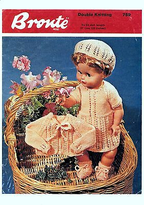 COPY_Vintage Doll Clothes Knitting Pattern  Bronte # 759  20 inch Doll  8Ply