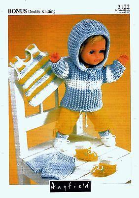 COPY-Vintage doll clothes knitting pattern  Hayfield # 3122   5 Items  To fit 12