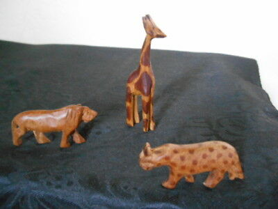 3 Charming Vintage Hand Carved Miniature Wooden Animal Figurines ca. 1950-1960