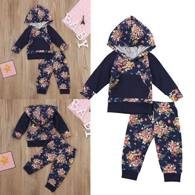 Cute Infant Baby Girls Boys Floral Hoodie Tops Pants Outfits Set Clothes 0-2T US