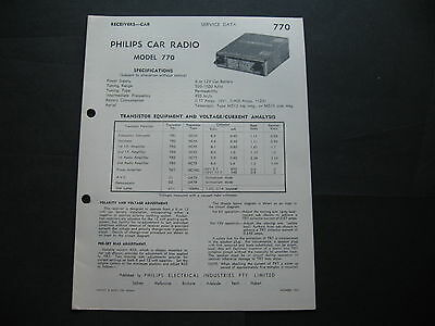 Philps Car Radio Model 770 Specification