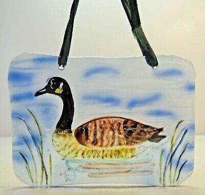 Hand Painted Glass Canadian Goose on Lake Soft Colors