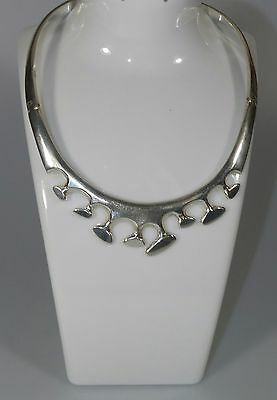 Vintage Jrz Taxco Mexico .925 Sterling Silver Hinged Modernist Necklace