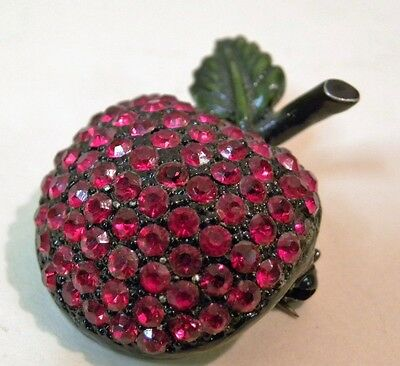 """Red Rhinestone Vintage HollyCraft signed Apple Pin 1.25"""" tall Japan Back"""