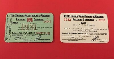 Chicago Rick Island & Pacific Ry. CRI&P 1931/1932 2-Passes for WP RR Employee