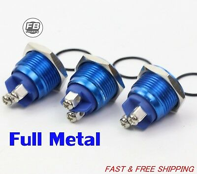3pcs Waterproof Starter Switch 16mm Boat Momentary Button Stainless Steel Blue