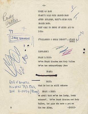 FRANK SINATRA SHOW TELEVISION SCRIPT RUDY VALLEE 1950-1952 TV w SIGNED CHECK