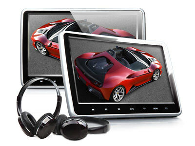 "Portable 10.1"" LCD 2X Car Headrest Monitor DVD Player Pillow Games +Headphones I"