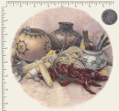 """1 x Large Ceramic decal Decoupage Round Plate Pots Peppers Corn 7 1/2"""" PD67a"""