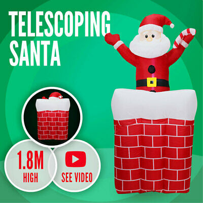 Telescoping Santa 1.8m Inflatable Christmas Light Xmas Pop Up Chimney Airblown