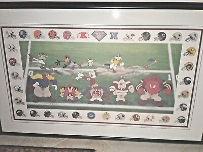 NFL Football Warner Bros McKimson 3 Yards & Cloud of Dust Looney Tunes Litho Art