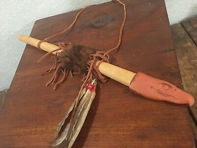 Wooden Indian Native American Wood Clay Eagle Peace Pipe Catlinite Pipestone