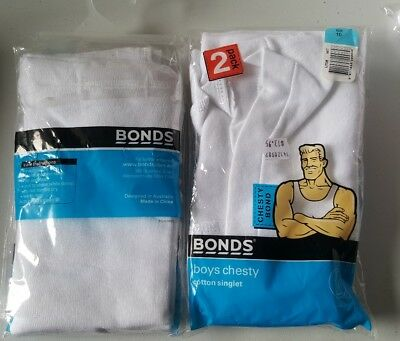 Bonds boys singlets size 10 x 4 white