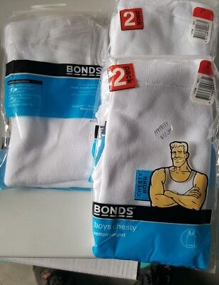 Bonds boys singlets size 8 x 4 white
