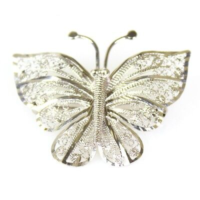 Sterling Silver Filigree Butterfly Brooch Like New Cond FREE EXPRESS POST 220