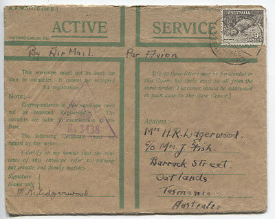 AUSTRALIA 1941: ACTIVE SERVICE cover to Tasmania from serviceman in EGYPT