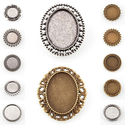 10pcs Vintage Alloy Carved Brooch Bases Blanks DIY Cabochon Settings Round/Oval