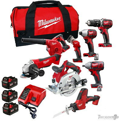 Milwaukee 18V 8 Pc Brushed Kit Drill Impact Grinder Blower Wrench Saw 3X3.0Ah