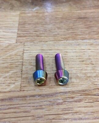 2 PCS M6 x 20mm Ti Allen Bolts Rainbow Colour with 1mm washer *fits cranks+brake