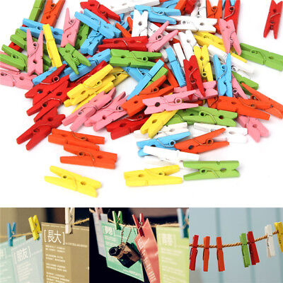 100Pcs Mini DIY Wooden Clothes Photo Paper Pegs Clothespin Cards Craft Clips