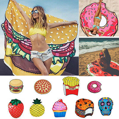 3D Round Funny Food Pattern Printed Beach Towel Tapestry Swimming Sunbath