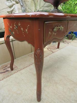 Old French Provincial Louis Xv Hand Painted Desk Hall Table Vintage Free Chair