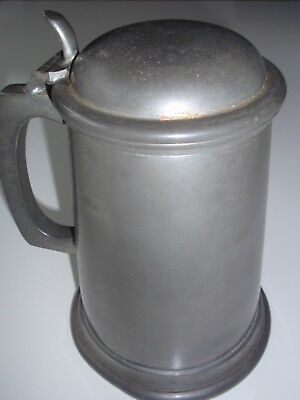English Lidded Pewter Tankard - (Sheffield) Stamped 881