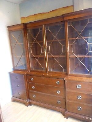 Large 7Ft Wide Victorian Mahogany Triple Glazed Inverted Breakfront Bookcase