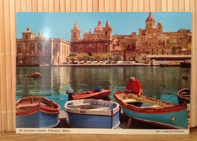 Malta St Lawrence Church Vittoriosa  - John Hinde Postcard Retro