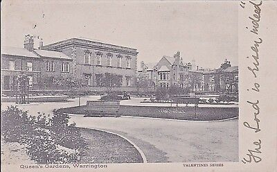 Cheshire Warrington Queen's  Gardens Posted 1900'