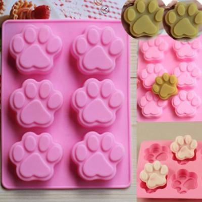 Cat Dog Paw Print Silicone Chocolate Ice Mold Sugercraft Cake Topper Soap JJ