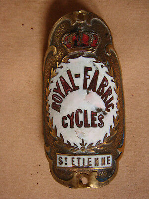 Plaque Velo Ancienne Cycles Royal Fabric St Etienne Collection Old Bike