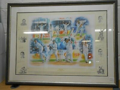 """Limited Edition Print - England Cricket """"Victorious"""" - Winter 2001 - autographed"""